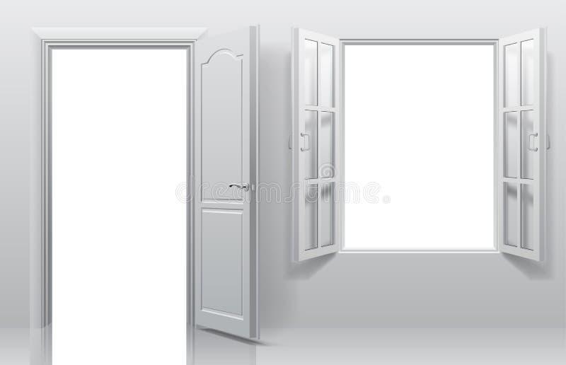 Parte dell'interno bianco con la porta aperta e la doppia finestra illustrazione vettoriale