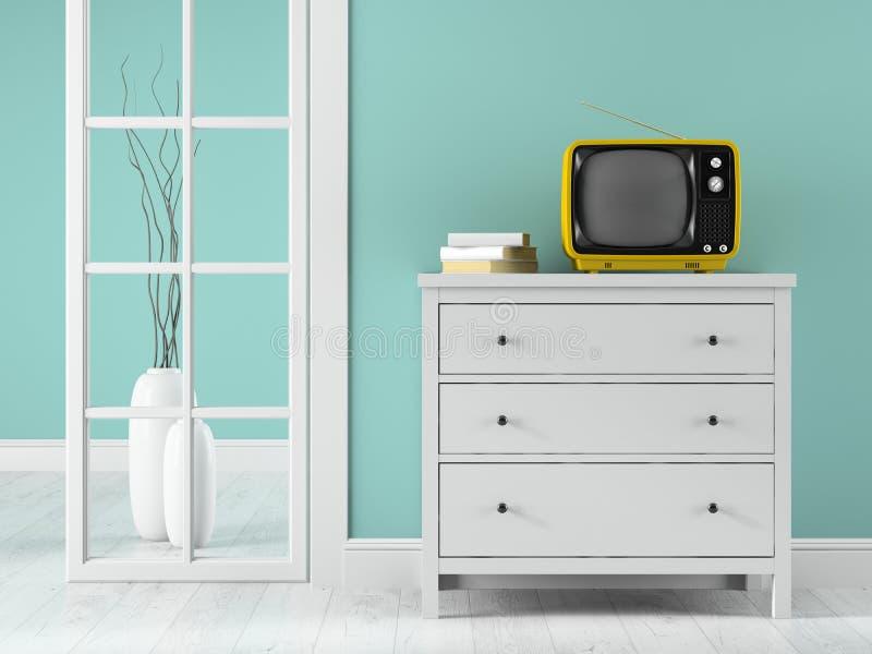 Parte dell'interno con la TV gialla illustrazione vettoriale
