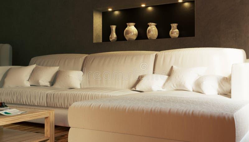 Parte dell'interno un salone con un sofà bianco fotografia stock libera da diritti