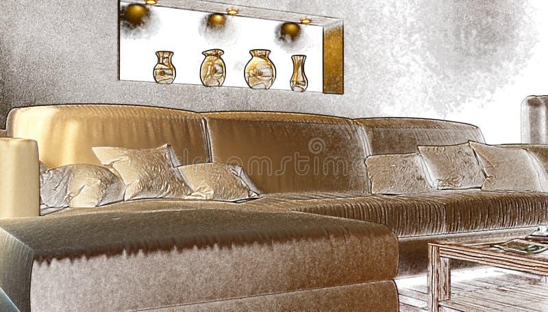 Parte dell'interno un salone con un sofà bianco stylization fotografia stock
