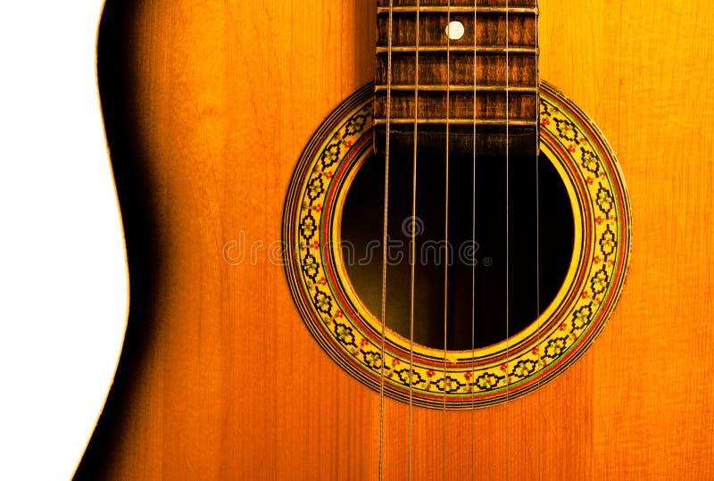 Parte della centrale della chitarra acustica fotografia stock libera da diritti