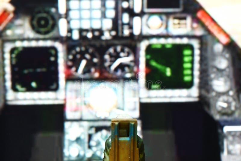 Parte della figura di modello miniatura della scena del pilota dell'aeronautica fotografie stock