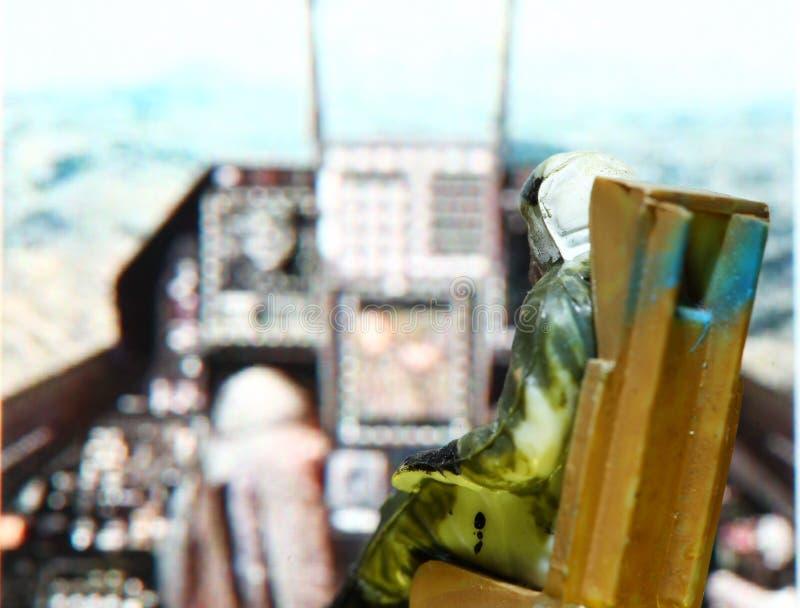 Parte della figura di modello miniatura della scena del pilota dell'aeronautica fotografia stock libera da diritti