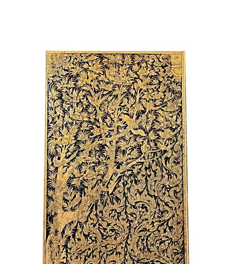 Parte di Art Antique Gild Lacquer tailandese su fondo bianco immagine stock libera da diritti