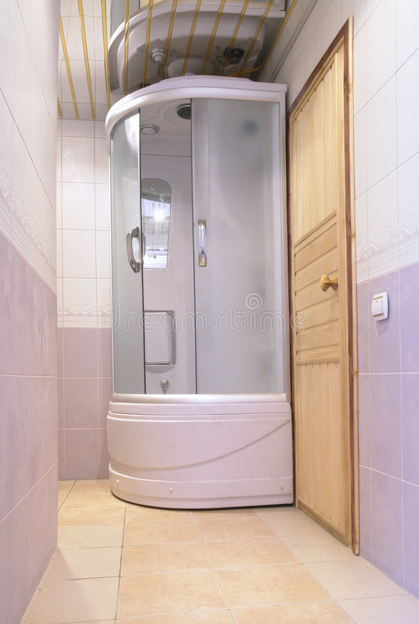 Parte di sauna in hotel moderno immagine stock libera da diritti