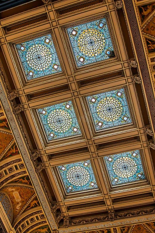 Parte di soffitto in Biblioteca del Congresso fotografia stock
