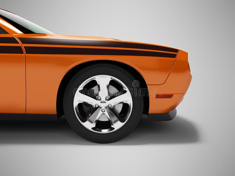 Parte dianteira alaranjada 3d do carro de esportes do conceito moderno para render no fundo cinzento com sombra ilustração do vetor