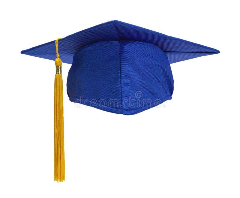 Parte dianteira azul do chapéu do graduado foto de stock