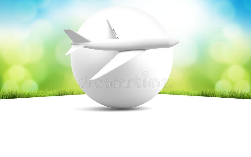 Parte dianteira branca do avião e do globo da rendição do fundo 3d da natureza ilustração stock