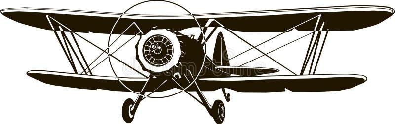 Parte dianteira clássica do avião retro do preto do monograma do vetor do biplano ilustração royalty free