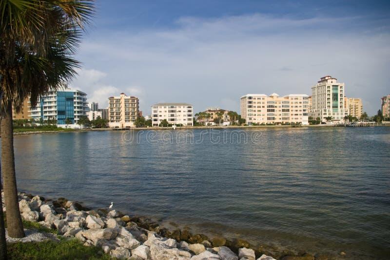 Parte dianteira da água de Sarasota imagens de stock
