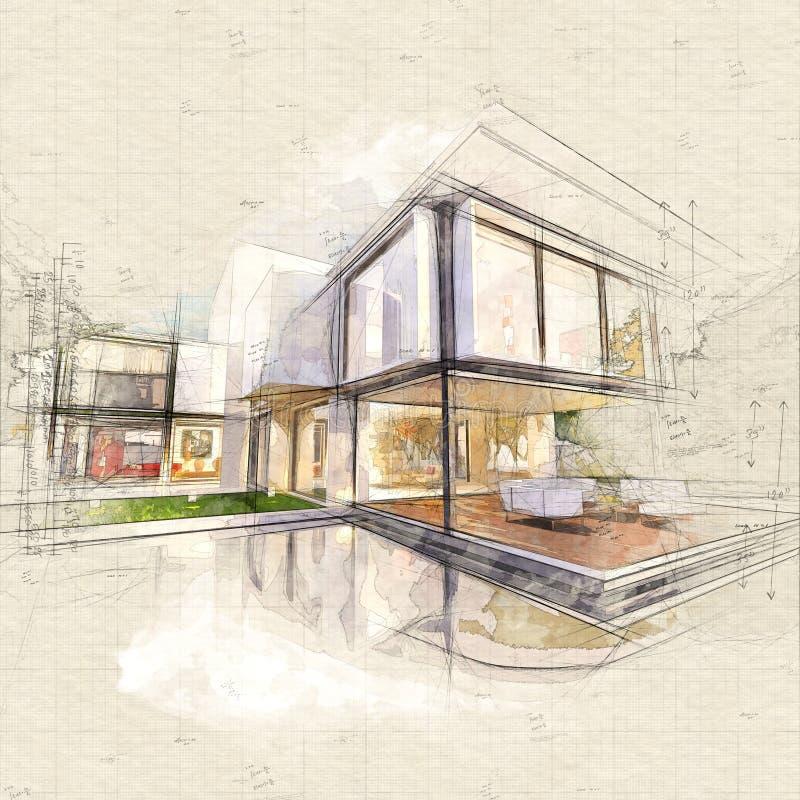 Parte dianteira da casa ideal ilustração royalty free
