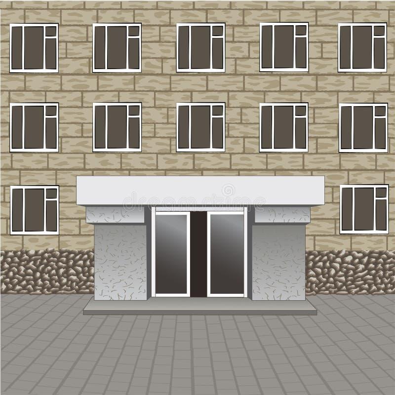 Parte dianteira da construção, entrada com o quadro indicador vazio para seu nome, pavimento ilustração stock