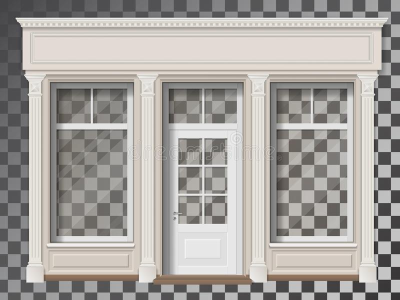 Parte dianteira da loja com a janela transparente da coluna ilustração do vetor