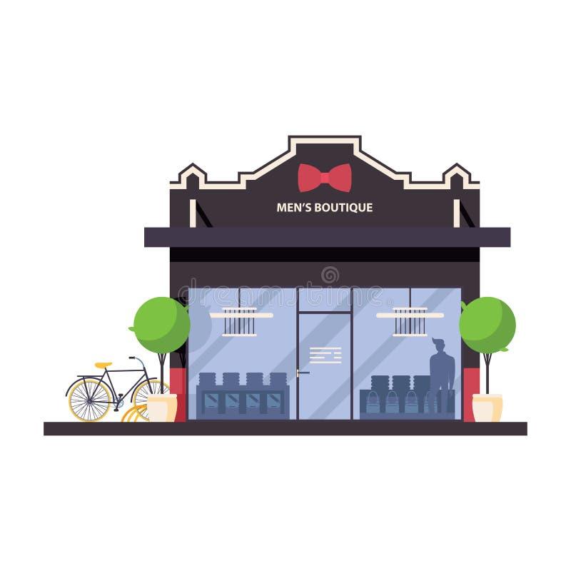 Parte dianteira da loja do boutique dos homens Conceito liso com silhuetas, hortaliças e bicicleta dos bens ilustração stock