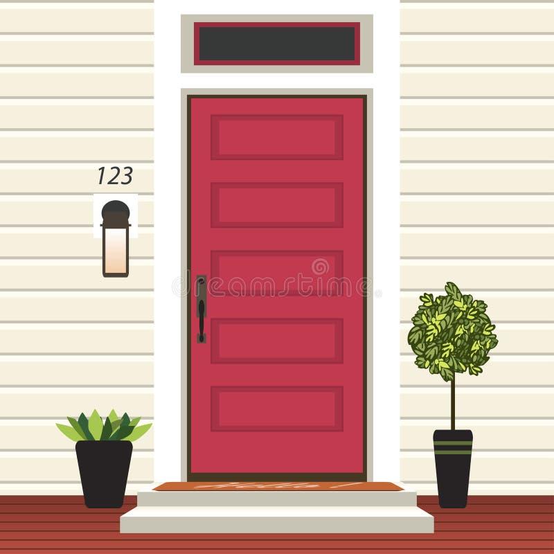 Parte dianteira da porta da casa com entrada e esteira, etapas, janela, lâmpada, flores no potenciômetro, fachada da entrada da c ilustração royalty free