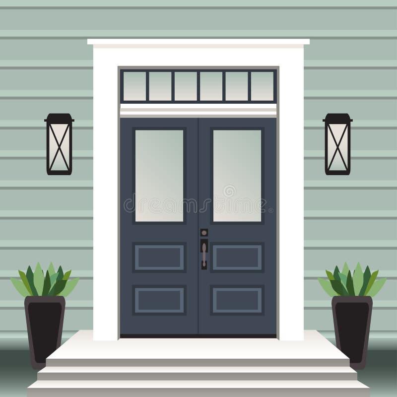 Parte dianteira da porta da casa com entrada e etapas, janela, lâmpada, flores no potenciômetro, fachada da entrada da construção ilustração royalty free