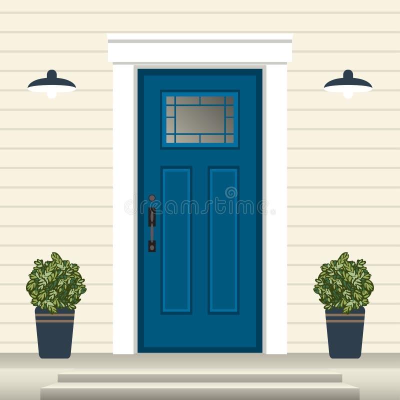 Parte dianteira da porta da casa com entrada e etapas, janela, lâmpada, flores no potenciômetro, fachada da entrada da construção ilustração stock