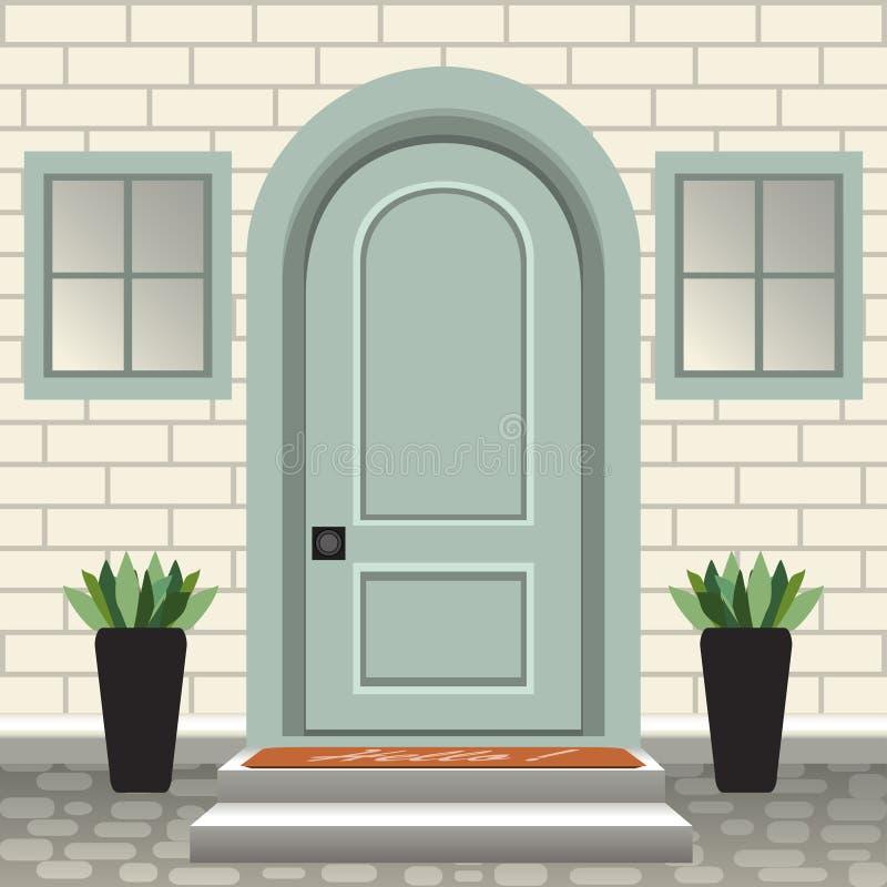 Parte dianteira da porta da casa com entrada e etapas, lâmpada, flores em uns potenciômetros, fachada da entrada da construção, e ilustração stock
