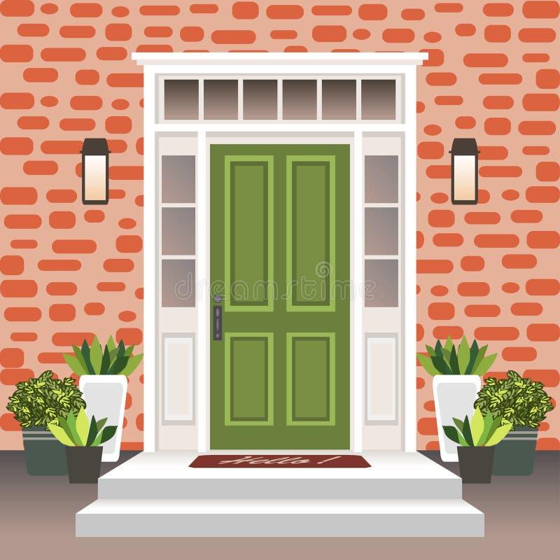 Parte dianteira da porta da casa com entrada e etapas, lâmpada, flores em uns potenciômetros, fachada da entrada da construção, e ilustração royalty free