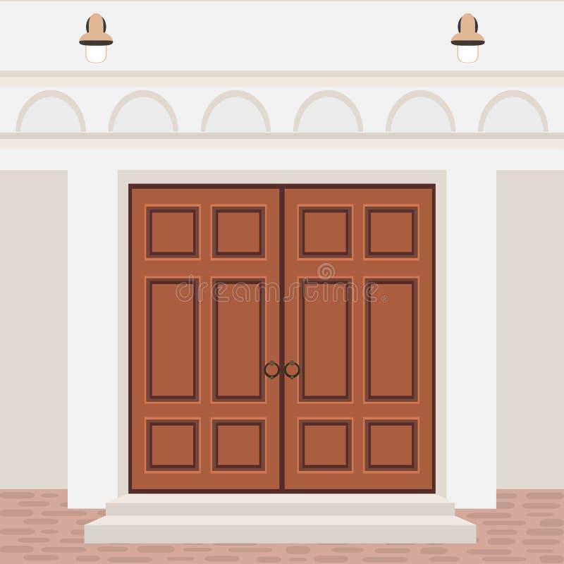Parte dianteira da porta da casa com etapas e lâmpadas, fachada de construção da entrada, e ilustração do vetor