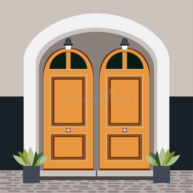 Parte dianteira da porta da casa com a janela, as etapas, as lâmpadas e as plantas, construindo ilustração stock
