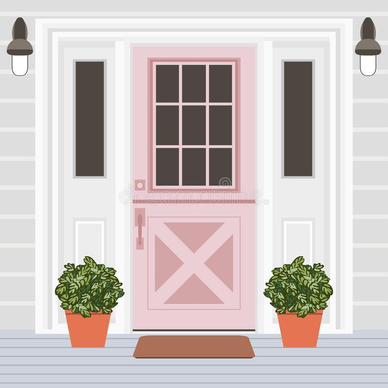 Parte dianteira da porta da casa com a janela, as etapas, as lâmpadas e as plantas, construindo ilustração do vetor
