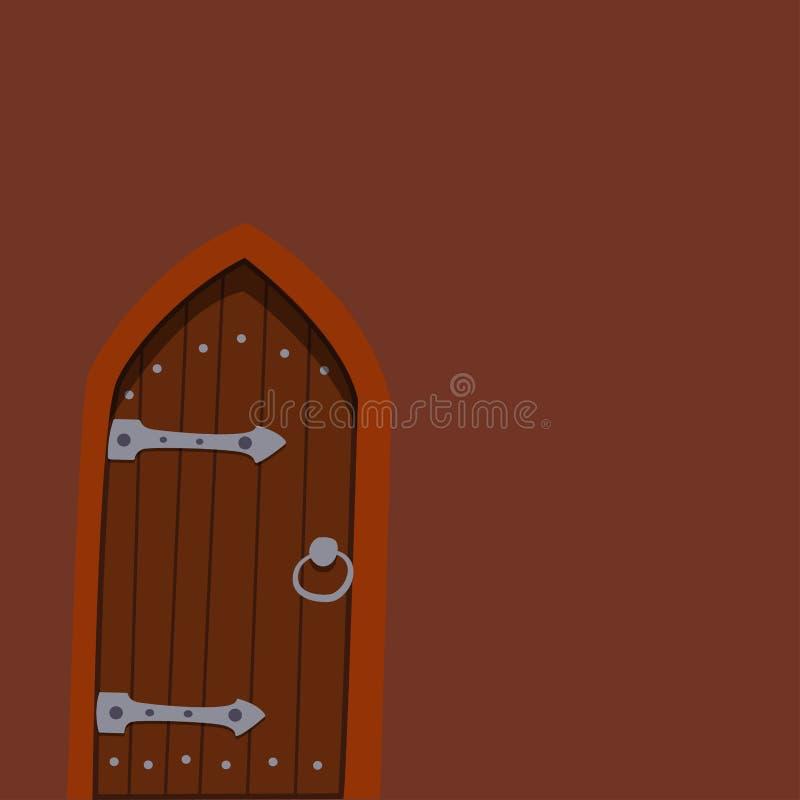 Parte dianteira da porta de Brown à casa e à decoração nova moderna de construção da ilustração lisa do vetor do fundo do estilo  ilustração do vetor