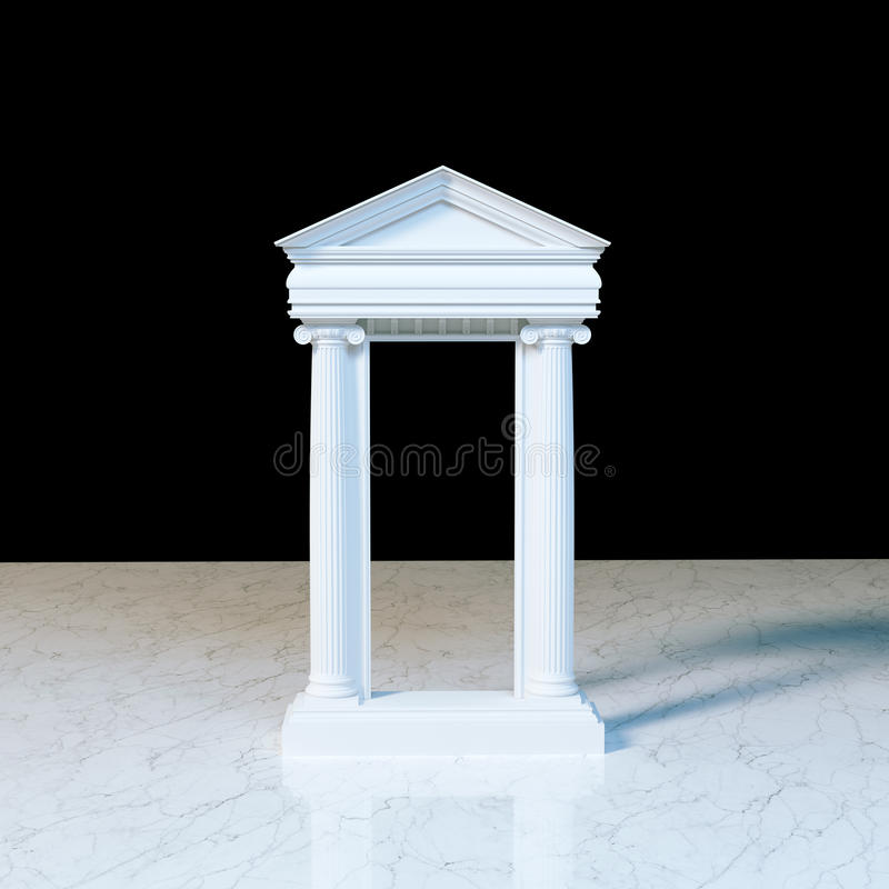 Parte dianteira de mármore antiga do templo com as colunas iônicas no mármore ilustração royalty free