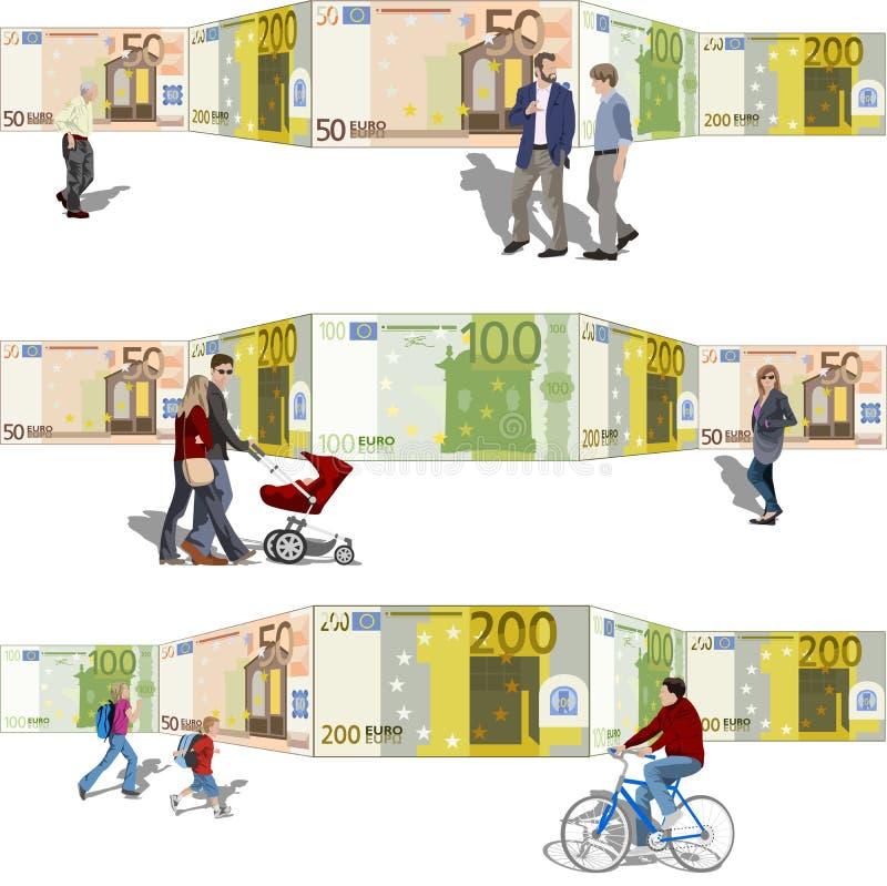 Parte dianteira de passeio dos povos de contas de um fundo ilustração royalty free