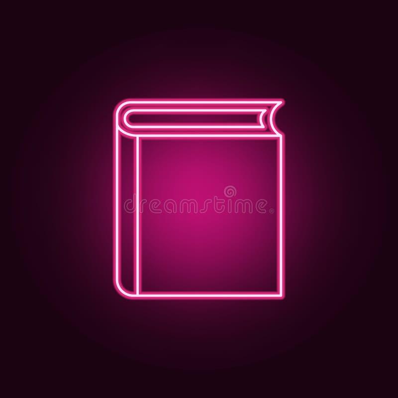 a parte dianteira do ícone do livro Elementos dos livros e dos compartimentos nos ícones de néon do estilo Ícone simples para Web ilustração royalty free