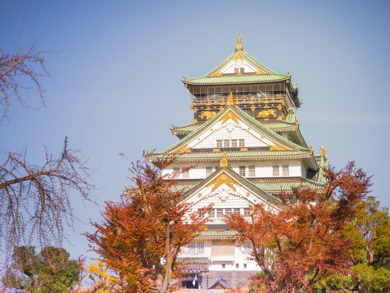 Parte dianteira do castelo de osaka com céu azul e as folhas vermelhas do tre da nogueira-do-Japão fotografia de stock