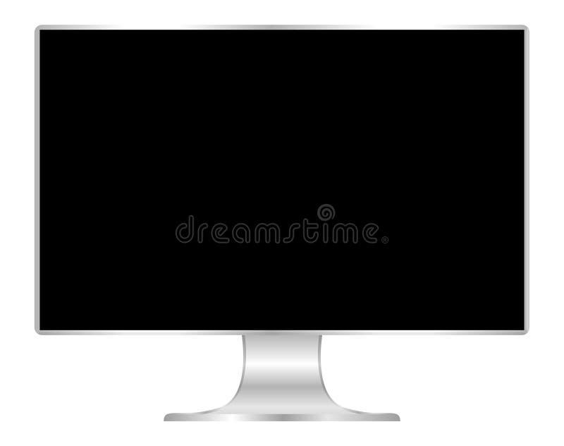 Parte dianteira do computador liso da tela do preto do monitor, tela panorâmico da exposição do PC e magro digitais, ícone do mon ilustração do vetor