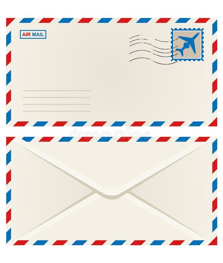 Parte dianteira e parte traseira de um envelope do correio aéreo ilustração stock