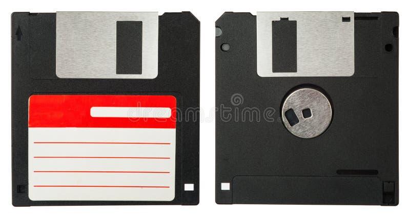 Parte dianteira e parte traseira de uma disquete preta fotos de stock royalty free