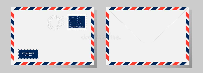 Parte dianteira e parte traseira do envelope clássico com selo, carimbo postal e airm ilustração stock