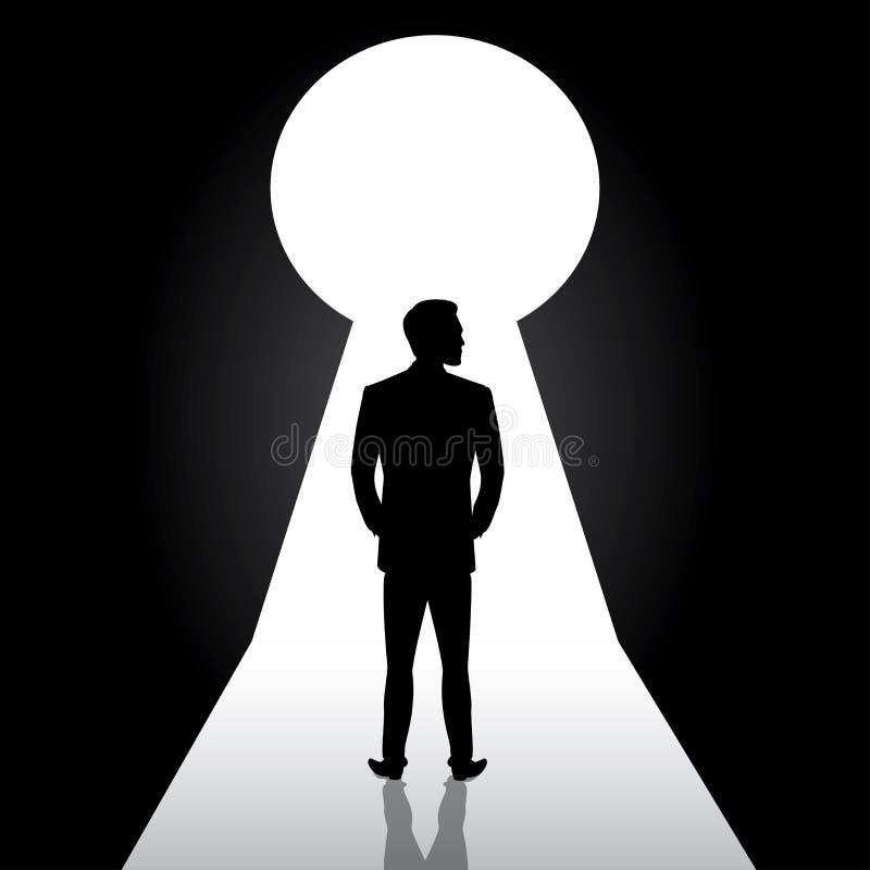 Parte dianteira estando da silhueta do homem de negócios do buraco da fechadura da porta, homem em sui ilustração royalty free