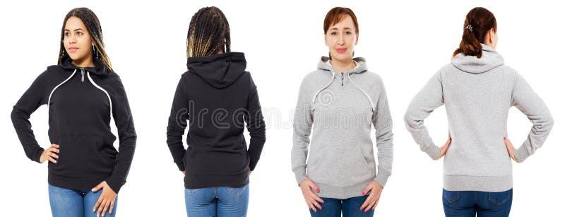 Parte dianteira fêmea da colagem da capa e vista traseira isoladas - caucasiano e mulher negra na zombaria do hoodie acima imagem de stock