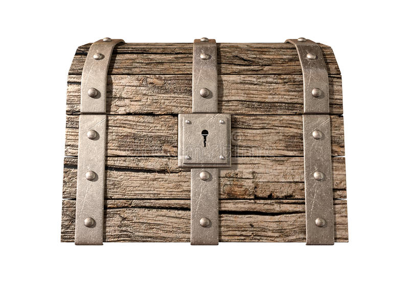 Parte dianteira fechado da arca do tesouro imagens de stock royalty free