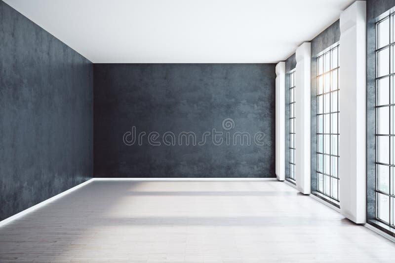 Parte dianteira interior preta sem mobília ilustração royalty free