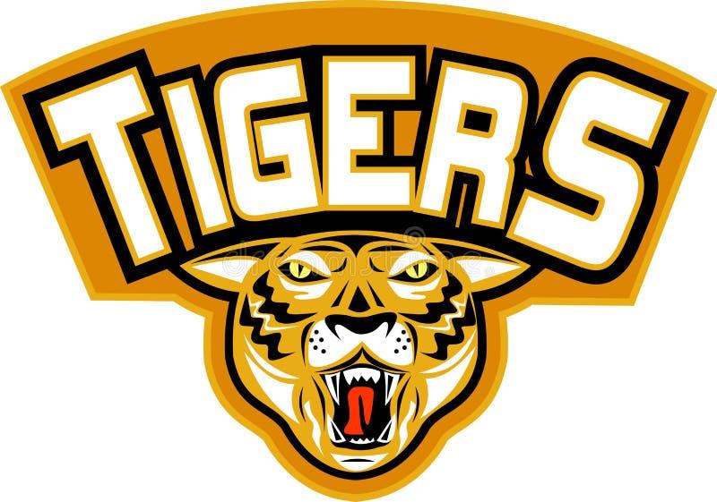 Parte dianteira irritada da cabeça do tigre ilustração do vetor