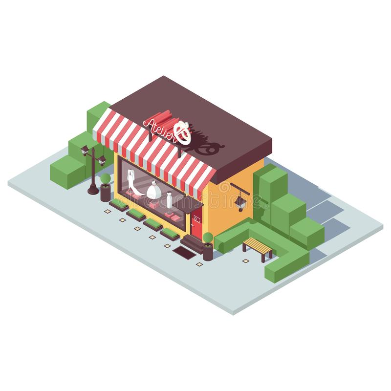 Parte dianteira isométrica da loja do vetor para a oficina ou a loja do alfaiate em cores brilhantes Ilustração simples com horta ilustração royalty free