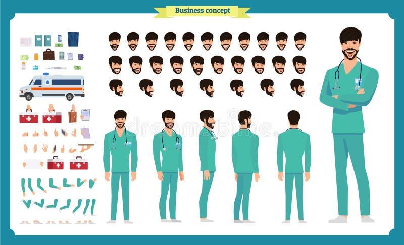 Parte dianteira, lado, caráter animado da vista traseira Criação do caráter do doutor ajustada com várias vistas, emoções da cara ilustração stock
