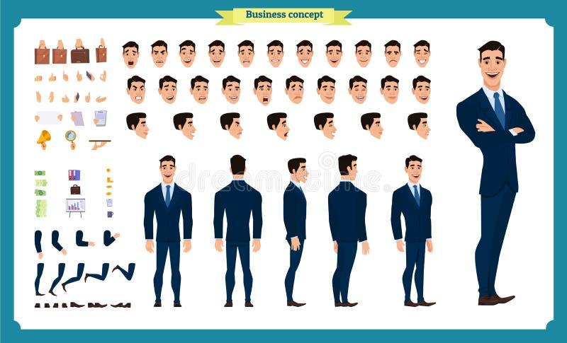 Parte dianteira, lado, caráter animado da vista traseira Criação do caráter do gerente ajustada com várias vistas, penteados, emo ilustração do vetor