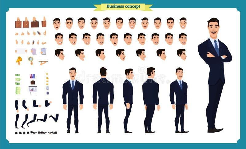 Parte dianteira, lado, caráter animado da vista traseira Criação do caráter do gerente ajustada com várias vistas, penteados, emo ilustração stock