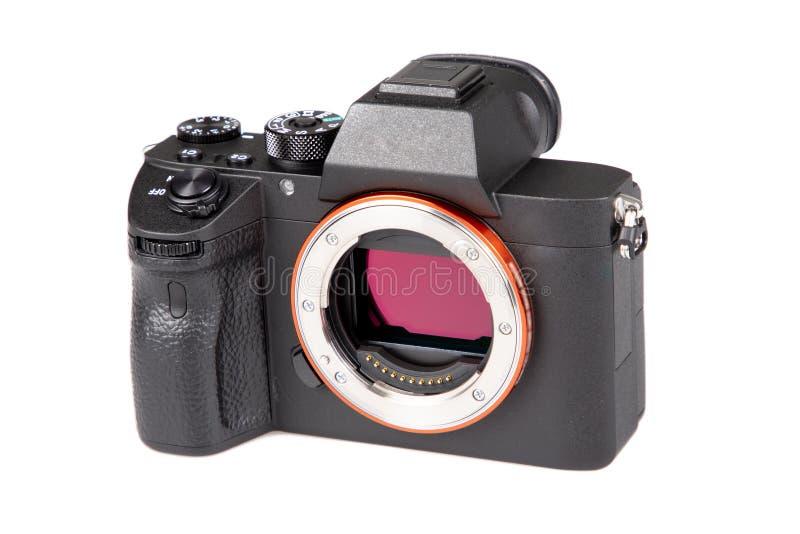 Parte dianteira nenhuma câmera da lente DSLR no fundo branco isolado fotos de stock royalty free