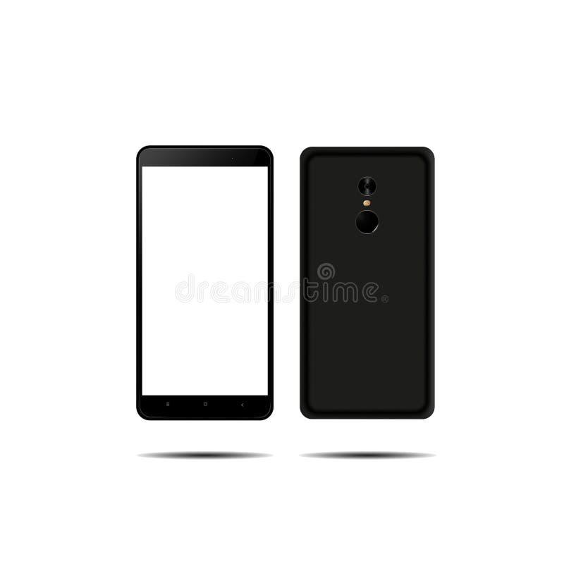 Parte dianteira nova do telefone e vetor preto traseiro que tiram o formato eps10 isolado no fundo branco ilustração do vetor