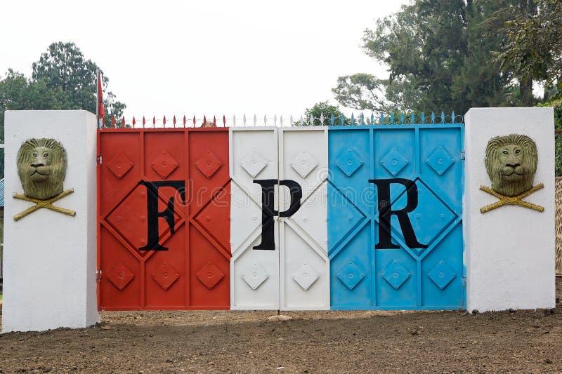 Parte dianteira patriótica ruandês foto de stock