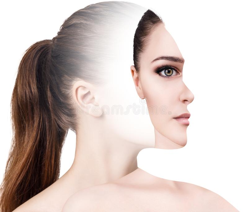 Parte dianteira surrealista do retrato com perfil cortado da mulher foto de stock royalty free