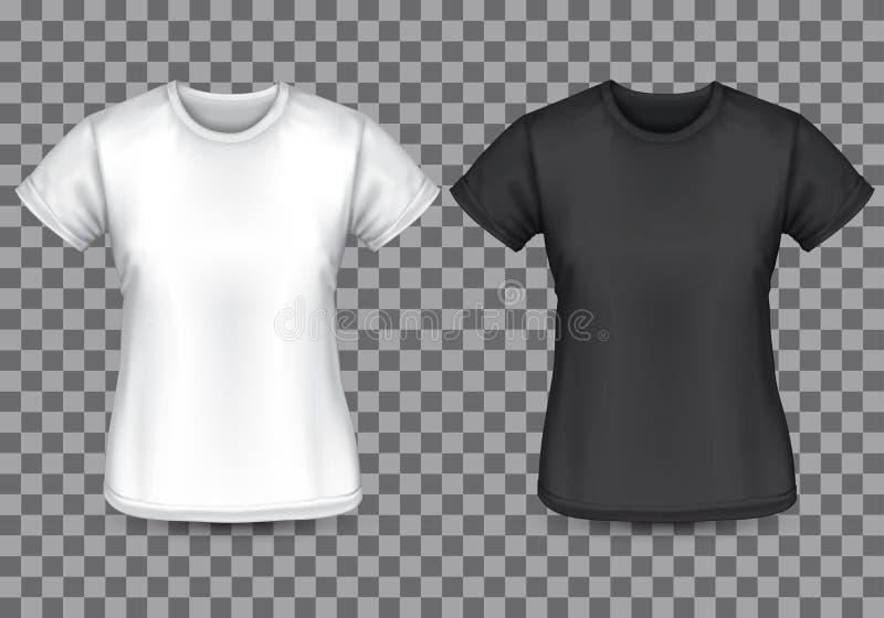 Parte dianteira vazia preta branca do t-shirt da mulher no vetor quadriculado do fundo ilustração royalty free